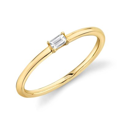 0.07ct 14k Yellow Gold Diamond Baguette Ring