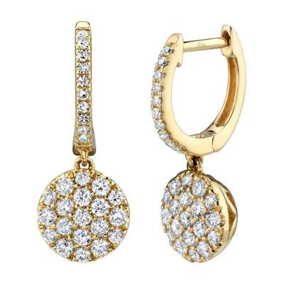 0.50ct 14k Yellow Gold Diamond Pave Earring