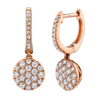 0.50ct 14k Rose Gold Diamond Pave Earring