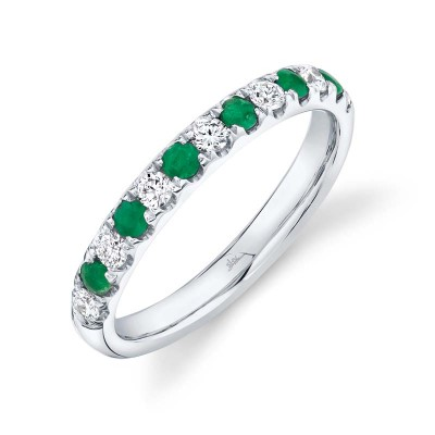 0.30ct Diamond and 0.30ct Emerald 14k White Gold Lady's Band