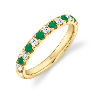 0.30ct Diamond and 0.30ct Emerald 14k Yellow Gold Lady's Band