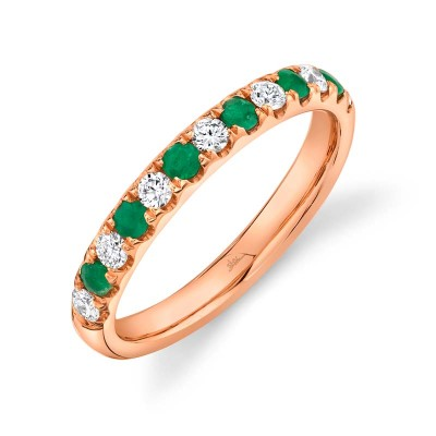 0.30ct Diamond and 0.30ct Emerald 14k Rose Gold Lady's Band