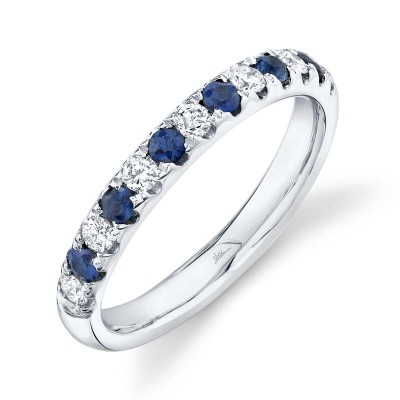 0.30ct Diamond and 0.30ct Blue Sapphire 14k White Gold Lady's Band