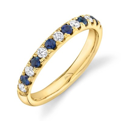 0.30ct Diamond and 0.30ct Blue Sapphire 14k Yellow Gold Lady's Band