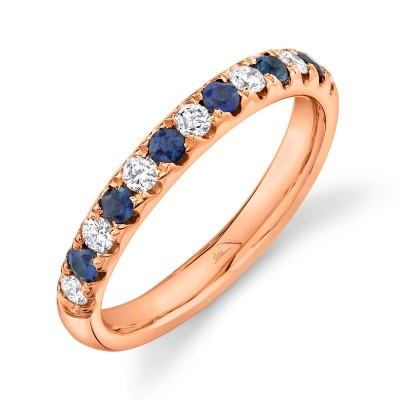 0.30ct Diamond and 0.30ct Blue Sapphire 14k Rose Gold Lady's Band