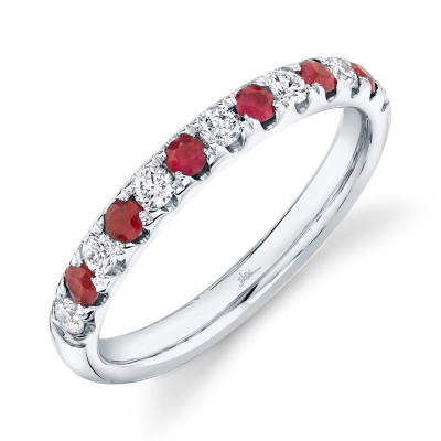0.30ct Diamond and 0.30ct Ruby 14k White Gold Lady's Band