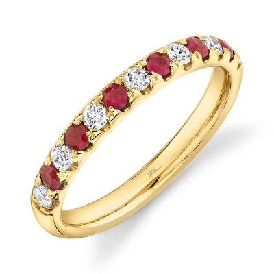 0.30ct Diamond and 0.30ct Ruby 14k Yellow Gold Lady's Band