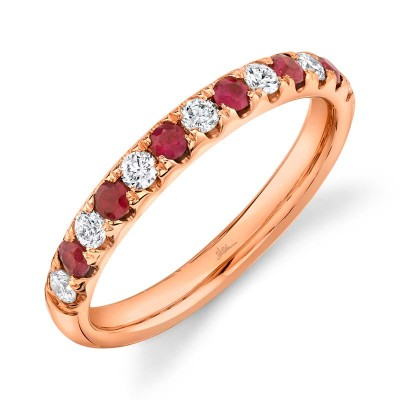 0.30ct Diamond and 0.30ct Ruby 14k Rose Gold Lady's Band