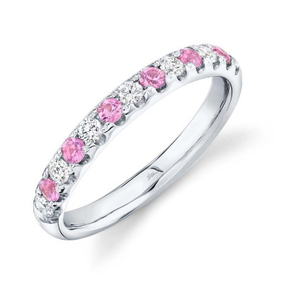 0.30ct Diamond and 0.30ct Pink Sapphire 14k White Gold Lady's Band
