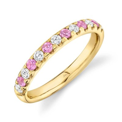 0.30ct Diamond and 0.30ct Pink Sapphire 14k Yellow Gold Lady's Band
