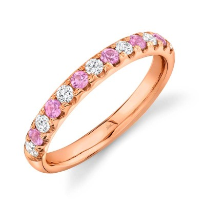 0.30ct Diamond and 0.30ct Pink Sapphire 14k Rose Gold Lady's Band