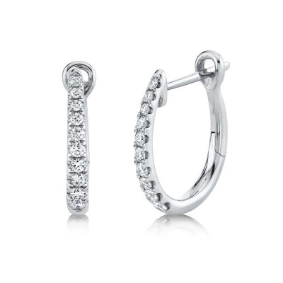 0.25ct 14k White Gold Diamond Hoop Earring