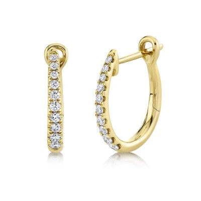 0.25ct 14k Yellow Gold Diamond Hoop Earring