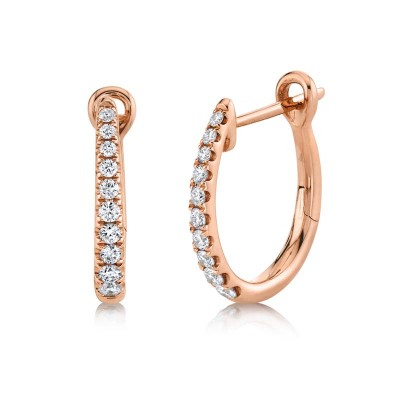 0.25ct 14k Rose Gold Diamond Hoop Earring