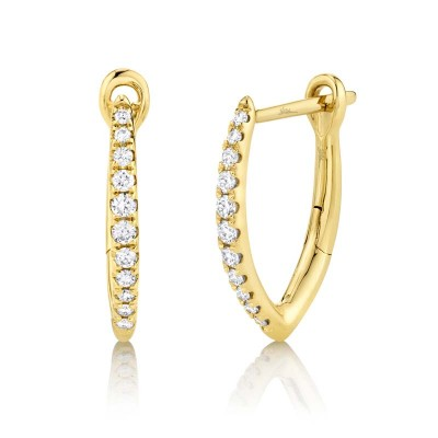 0.15ct 14k Yellow Gold Diamond Hoop Earring