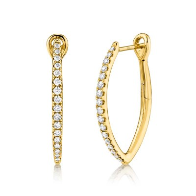 0.35ct 14k Yellow Gold Diamond Hoop Earring