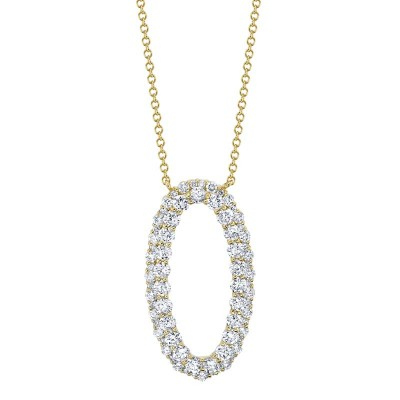 1.33ct 14k Yellow Gold Diamond Oval Necklace