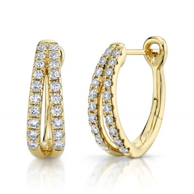0.40ct 14k Yellow Gold Diamond Oval Hoop Earring