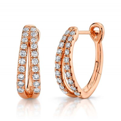 0.40ct 14k Rose Gold Diamond Oval Hoop Earring