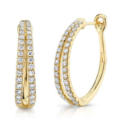 1.05ct 14k Yellow Gold Diamond Oval Hoop Earring