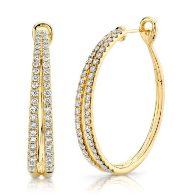 1.76ct 14k Yellow Gold Diamond Oval Hoop Earring