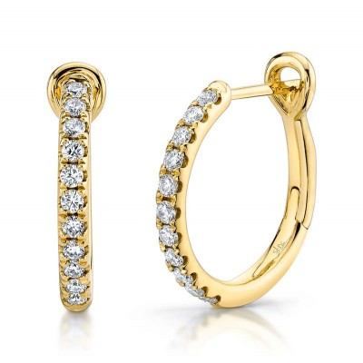 0.26ct 14k Yellow Gold Diamond Hoop Earring