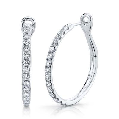 0.74ct 14k White Gold Diamond Hoop Earring