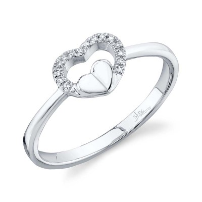0.04ct 14k White Gold Diamond Heart Ring