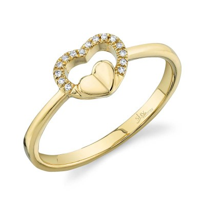 0.04ct 14k Yellow Gold Diamond Heart Ring