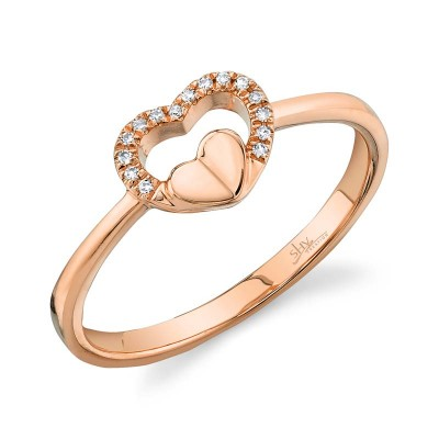 0.04ct 14k Rose Gold Diamond Heart Ring