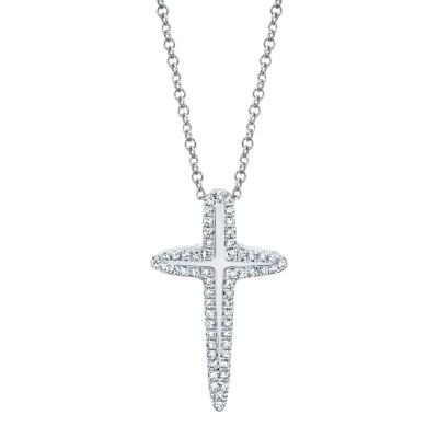 0.13ct 14k White Gold Diamond Cross Necklace