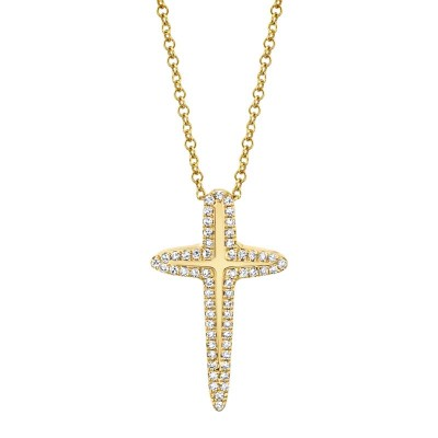 0.13ct 14k Yellow Gold Diamond Cross Necklace