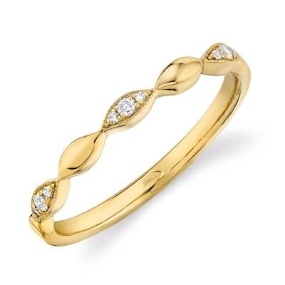 0.05ct 14k Yellow Gold Diamond Lady's Band