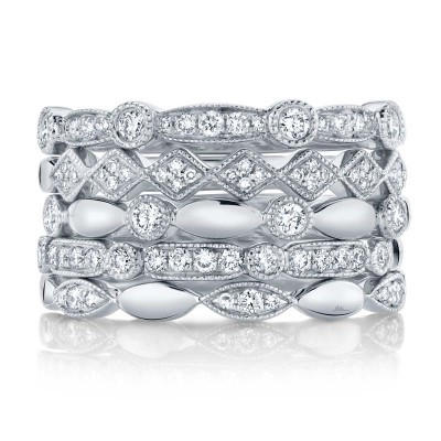 0.50ct 14k White Gold Diamond Lady's Ring 5-pc