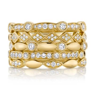 0.50ct 14k Yellow Gold Diamond Lady's Ring 5-pc