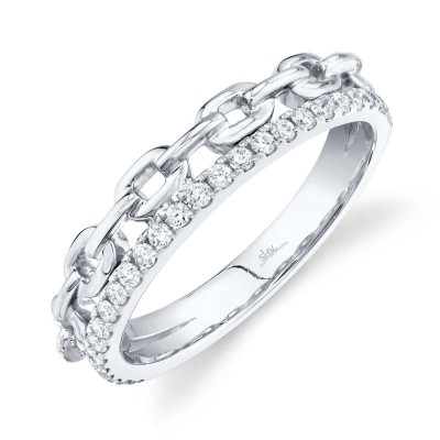 0.25ct 14k White Gold Diamond Link Ring