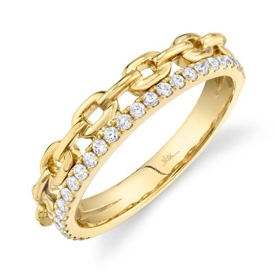 0.25ct 14k Yellow Gold Diamond Link Ring