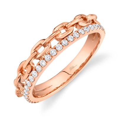 0.25ct 14k Rose Gold Diamond Link Ring