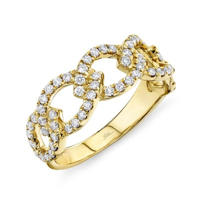 0.61ct 14k Yellow Gold Diamond Link Ring