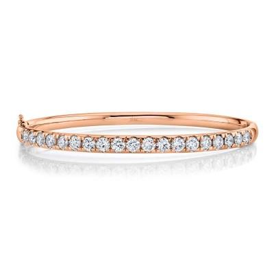 3.04ct 14k Rose Gold Diamond Bangle