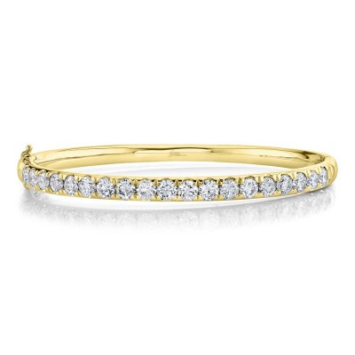3.95ct 14k Yellow Gold Diamond Bangle