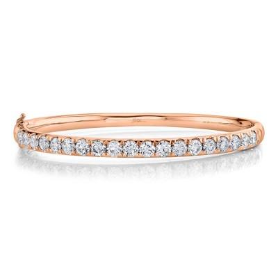 3.95ct 14k Rose Gold Diamond Bangle