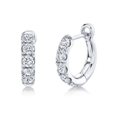 0.81ct 14k White Gold Diamond Huggie Earring