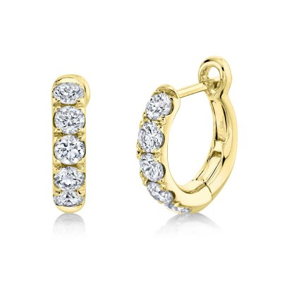 0.81ct 14k Yellow Gold Diamond Huggie Earring