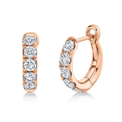 0.81ct 14k Rose Gold Diamond Huggie Earring