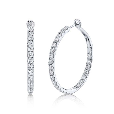 4.00ct 14k White Gold Diamond Hoop Earring