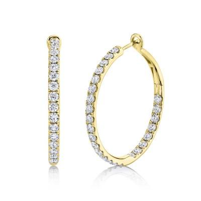 4.00ct 14k Yellow Gold Diamond Hoop Earring