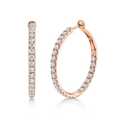 4.00ct 14k Rose Gold Diamond Hoop Earring