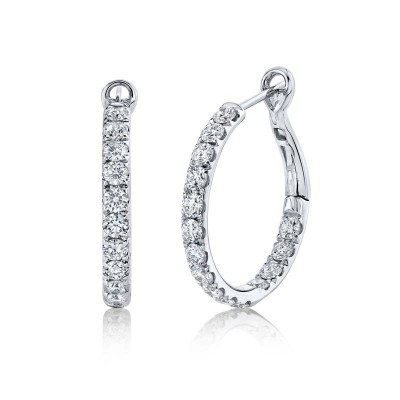 2.42ct 14k White Gold Diamond Hoop Earring