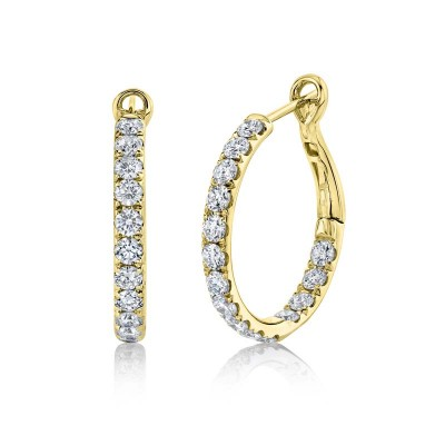 2.42ct 14k Yellow Gold Diamond Hoop Earring